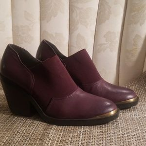 Burgundy Naya leather booties